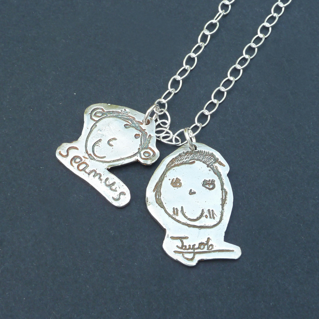Double Mini Masterpiece Necklace Childrens Childs Drawing Artwork in Fine Silver