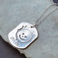 Single Mini Masterpiece Necklace Childrens Childs Drawing Artwork in Fine Silver
