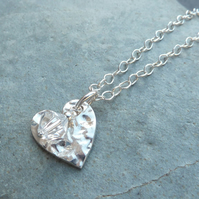 April Birthstone Necklace - Fine Silver Charm and Diamond Crystal Birthstone