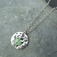 August Birthstone Necklace - Fine Silver Round Charm and Peridot Crystal