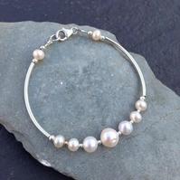 Pearl and Sterling Silver Bridal or Bridesmaid Bracelet - B0064