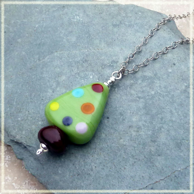 Christmas Tree Lampwork Glass and Sterling Silver Pendant - P0007
