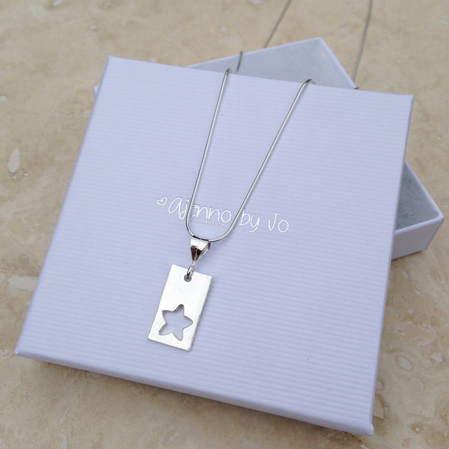 Rectangle Fine Silver Star Cut Out Pendant Necklace - P0003