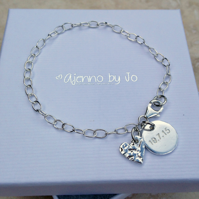 Personalised Special Date Love Heart Charm Silver Bracelet - DH2