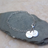Personalised Silver Stamped Date Charm and Initial Keepsake Bracelet - DH2