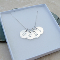 Personalised Silver Initial 4 Round Charm Necklace - LNR4