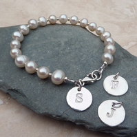 Bridesmaid Thank you Gift - Silver Personalised Initial Charm Bracelet - LPBR1