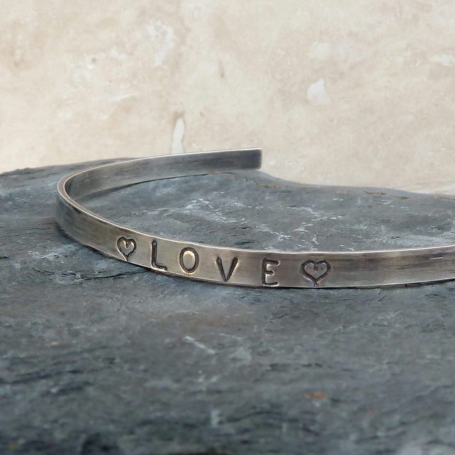 LOVE Hand Stamped Sterling Silver Bangle - B0053
