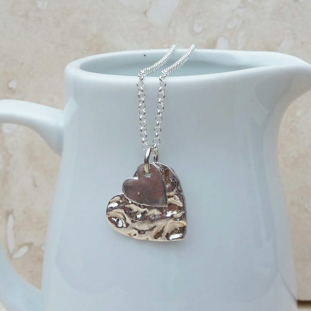Sterling Silver Double Heart Pendant - P0015