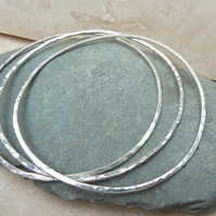 Sterling Silver Hammered Stacking Bangle - BAN001