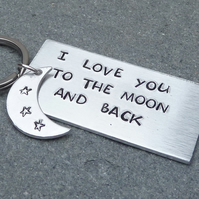 I Love You To The Moon and Back Hand Stamped Silvertone Keyring - KEY006