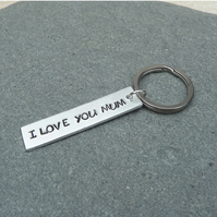 I Love You Mum Hand Stamped Silvertone Keyring - KEY005
