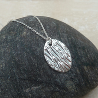 Sterling Silver Oval Line Textured Pendant - P0022
