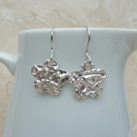 Fine Silver Patterned Flower Drop Earrings - E0099