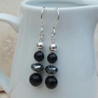 Black Onyx, Hematite and Silver Gemstone Earrings - GEM007