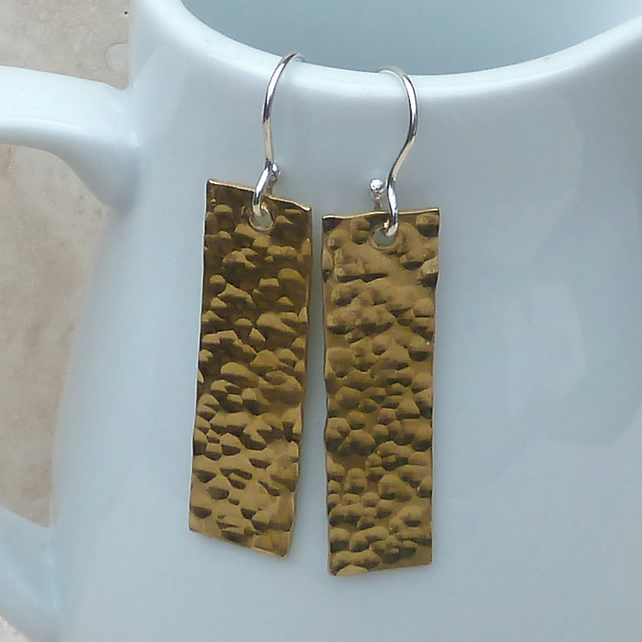 Long Brass Metal Rectangle Earrings - Hammered Finish - MET005