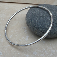 3 mm Thick Sterling Silver Hammered Bangle - BAN002