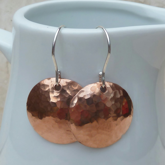 Hammered Copper Dome Earrings with Sterling Silver Hooks - MET004