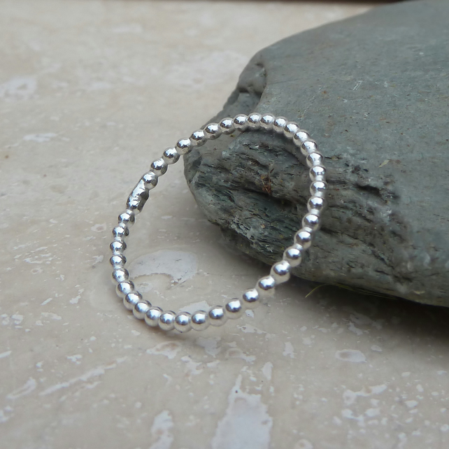 Sterling Silver Beaded Wire Stacker Ring - R0033