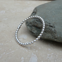 Sterling Silver Beaded Wire Stacker Ring - UK Size O - RNG022
