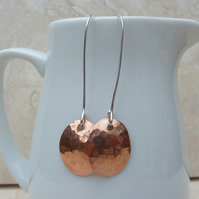 Long Hammered Copper Oval Earrings - MET008