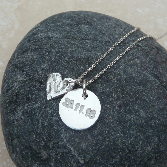 Personalised Special Date Love Heart Charm Silver Necklace - DH1