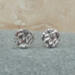 Fine Silver Round Flat Patterned Stud Earrings - STUD043