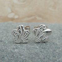 SALE -  Silver Small Patterned Flower Stud Earrings - STUD046 - Sterling Silver