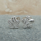 Fine Silver Small Patterned Flower Stud Earrings - STUD046
