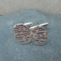 Fine Silver Oval Patterned Cufflinks - CUF001