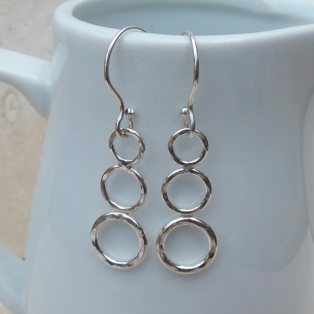 Sterling Silver Three Ring Drop Earrings - SILV023