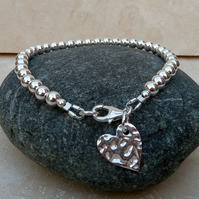 Sterling Silver Hammered Heart Charm Ball Bead Bracelet - BB002
