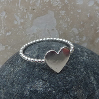 Sterling Silver Heart Charm Ring - UK Size Q - RNG006