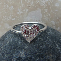 Sterling Silver Heart Charm Ring - UK Size S - RNG004