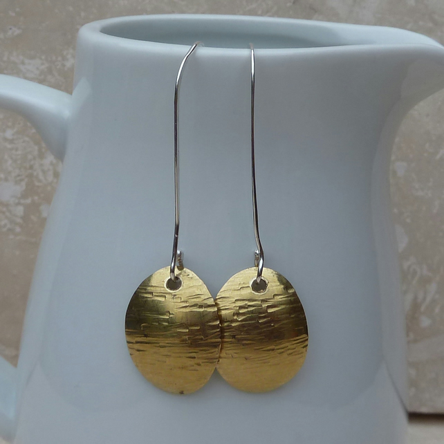Long Dapple Hammered Brass Oval Earrings - MET011