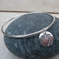 Sterling Silver Hammered Bangle with Dandelion Wishes Charm - BAN007