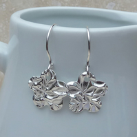 Fine Silver Patterned Flower Charm Earrings - SILV029