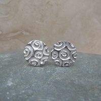 Fine Silver Large Patterned Round Stud Earrings - STUD063 - Sterling Silver