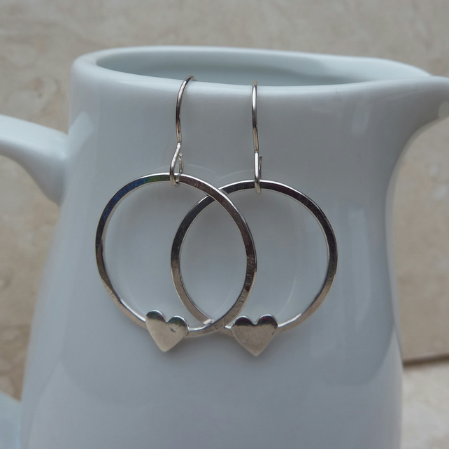 Sterling Silver Heart Hoop Earrings - SILV028