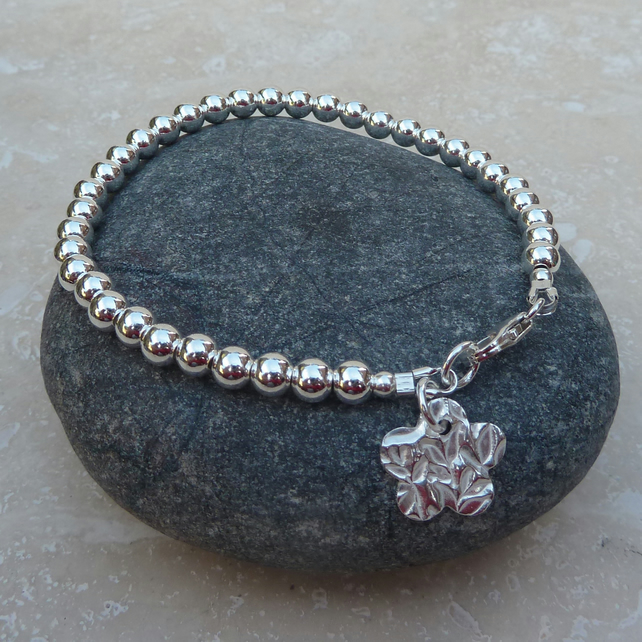 Sterling Silver Ball Bead Flower Charm Bracelet - BRC004