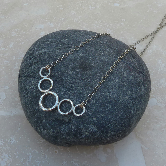 Sterling Silver Five 5 Ring Bubble Necklace - NEK002
