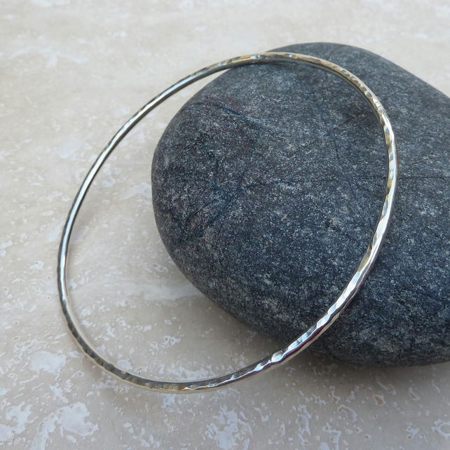 Sterling Silver 2mm Thick Hammered Bangle - BAN008