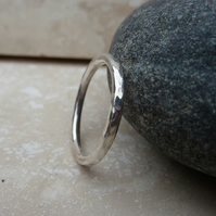 Sterling Silver 2mm Hammered Ring - UK Size R - RNG009