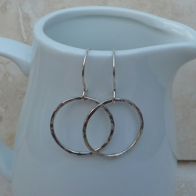 Sterling Silver Hammered Hoop Earrings - SILV021