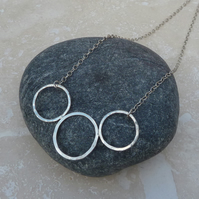 Sterling Silver Hammered Three 3 Ring Necklace - NEK004