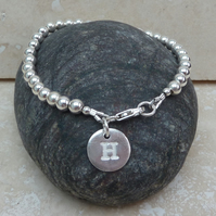Personalised Sterling Silver Ball and Letter Initial Charm Bracelet - LSBR1