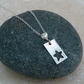 Sterling and Fine Silver 20 mm Rectangle Star Cut Out Pendant - PEN011