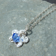 September Birthstone Necklace - Fine Silver Charm & Sapphire Crystal Birthstone