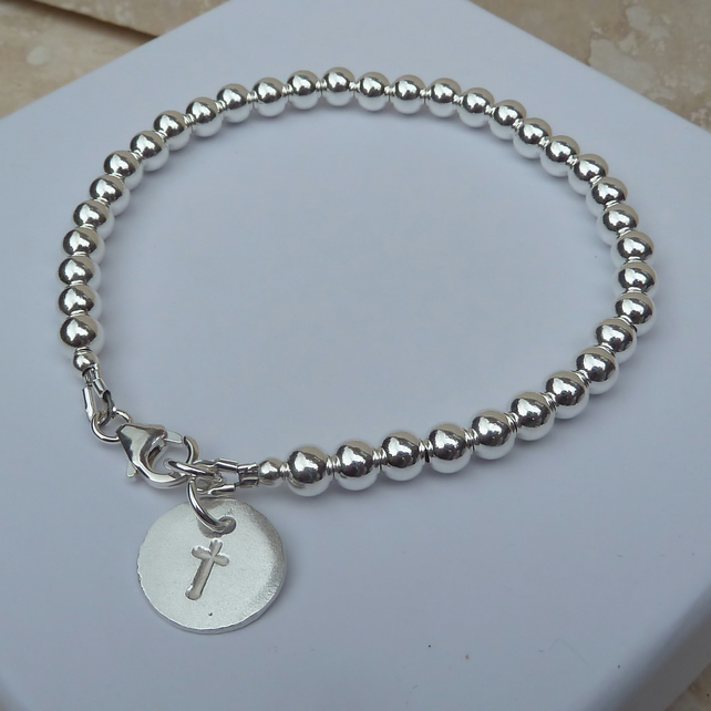 Sterling Silver Ball Bead Cross Charm Bracelet - BRC006