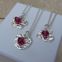 July Birthstone Necklace - Fine Silver Charm and Ruby Crystal Birthstone